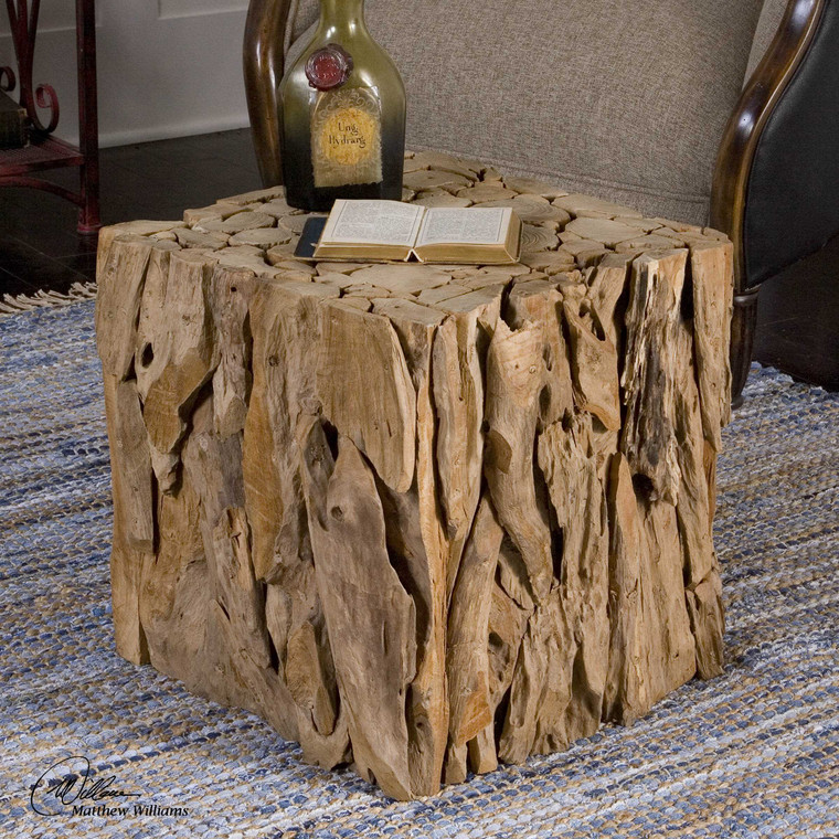 Teak Root Bunching Cube by Uttermost