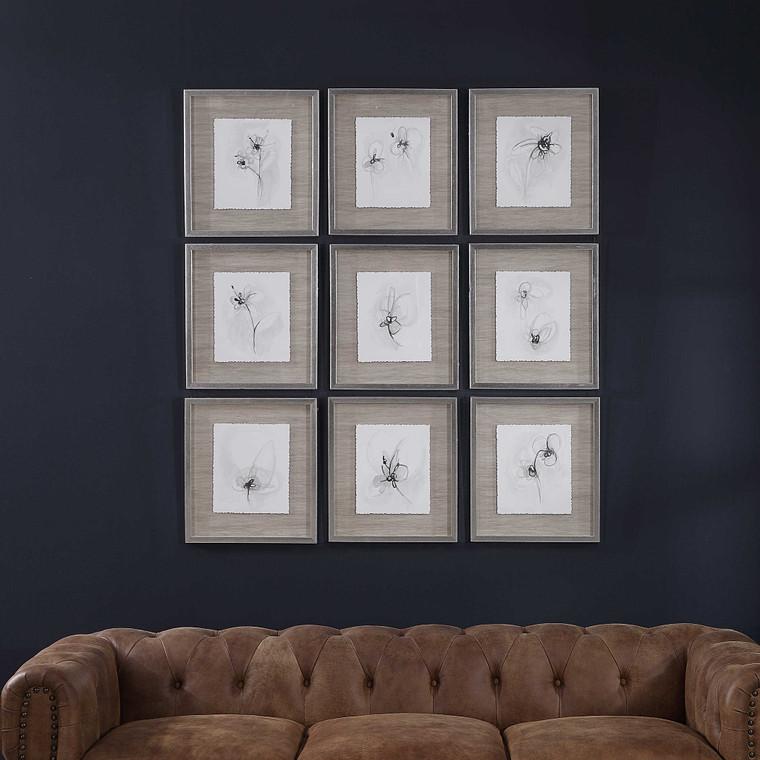 Neutral Floral Gestures Framed Prints S/9 by Uttermost
