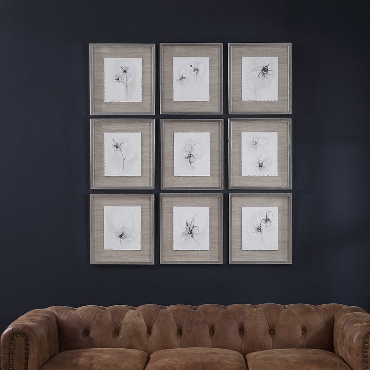 Neutral Floral Gestures Framed Prints S/9 by Uttermost