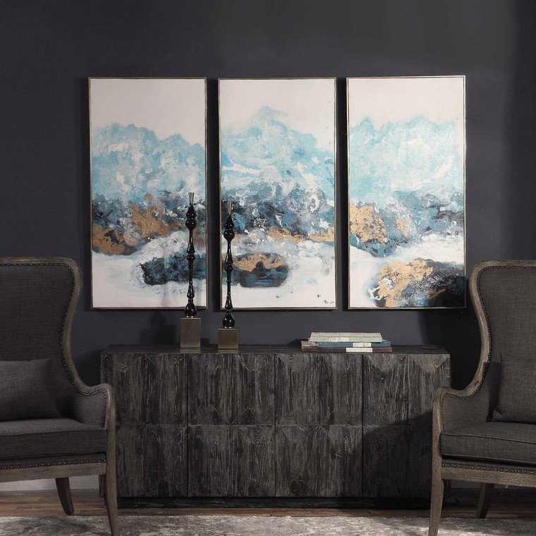 Crashing Waves Hand Painted Canvases S/3 by Uttermost