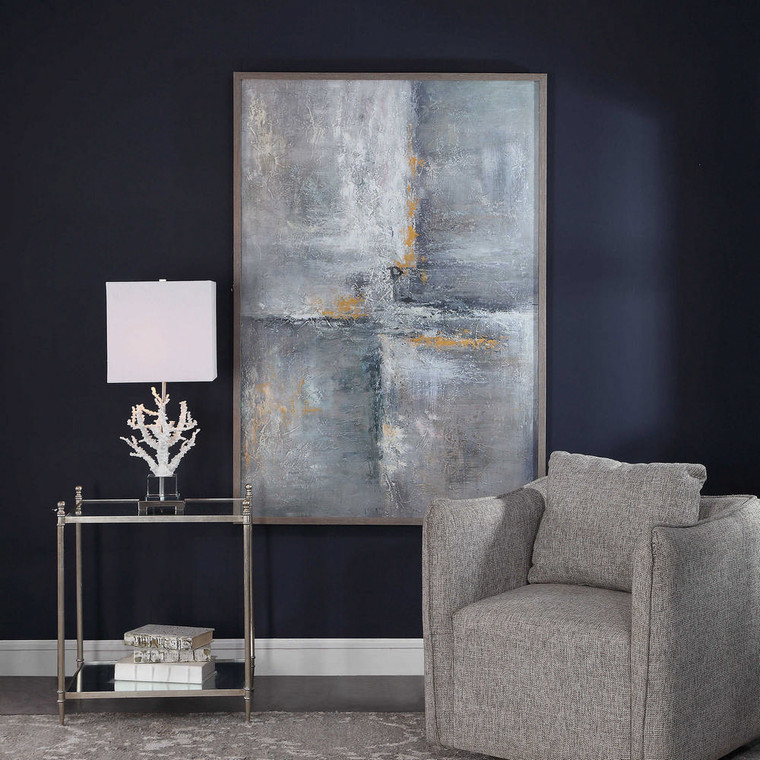 Gray Checkerboard Hand Painted Canvas by Uttermost
