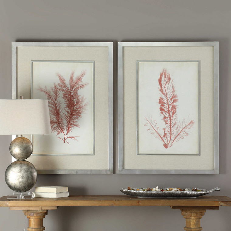Coral Sea Feathers Framed Prints S/2 by Uttermost