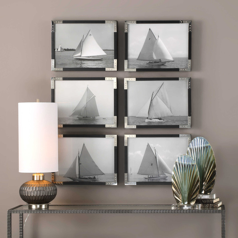 Sailboats Framed Prints S/6 by Uttermost