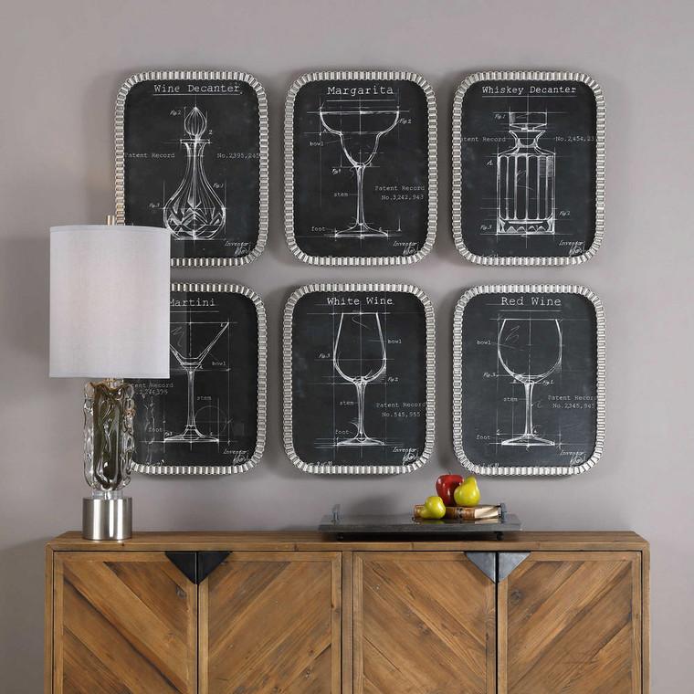 Barware Blueprints Framed Prints S/6 by Uttermost