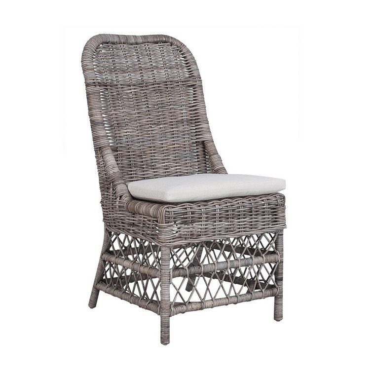 Milan Dining Chair - Kubo Grey with White Cushion Cover