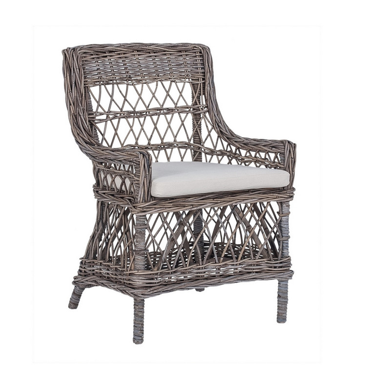 Veneto Carver Chair - Kubo Grey with White Cushion Cover