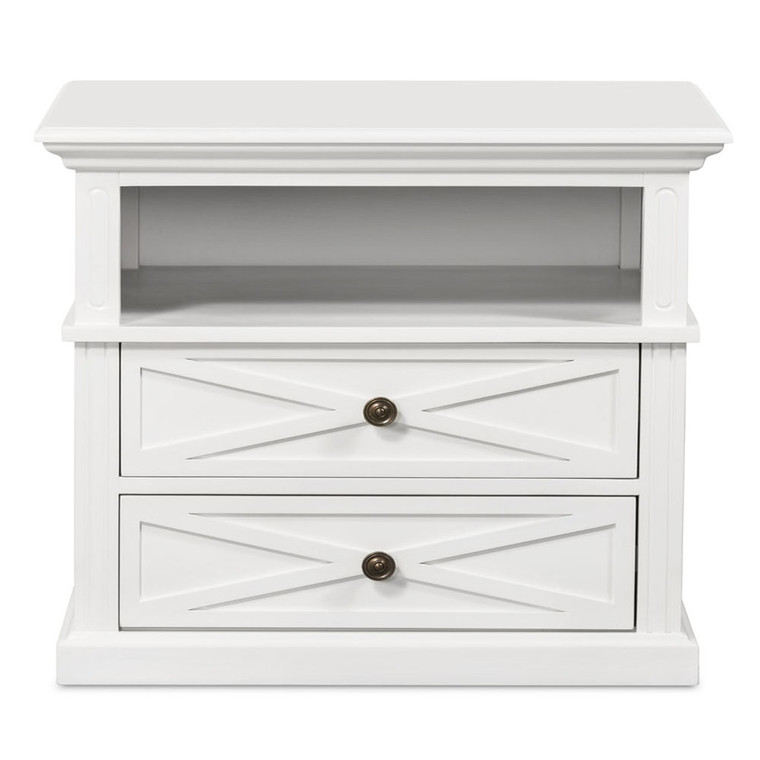 Hamptons Cross Sorrento Bedside 2 Drawer Large - White