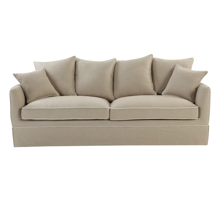 Portsea 3 Seat Sofa COVER ONLY - Nat/White Piping by Maison Living
