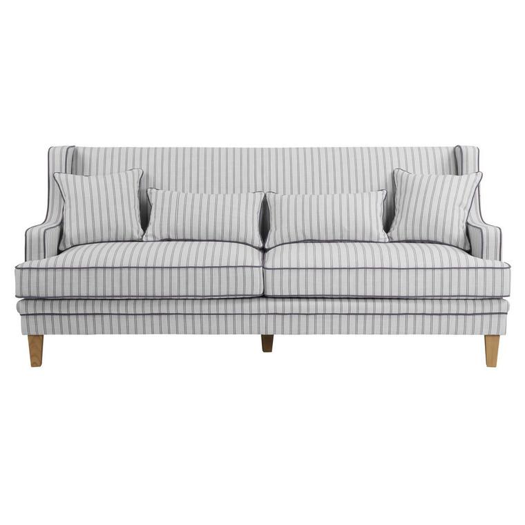 Byron 3 Seat Sofa - Blue/White Pin Stripe by Maison Living