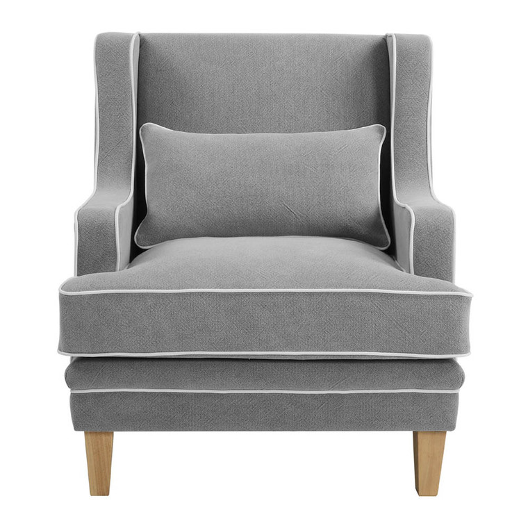 Byron Armchair Grey W/ White Piping by Maison Living