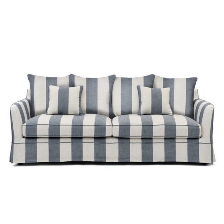 Portsea 3 Seat Sofa - Denim & Cream Stripe by Maison Living