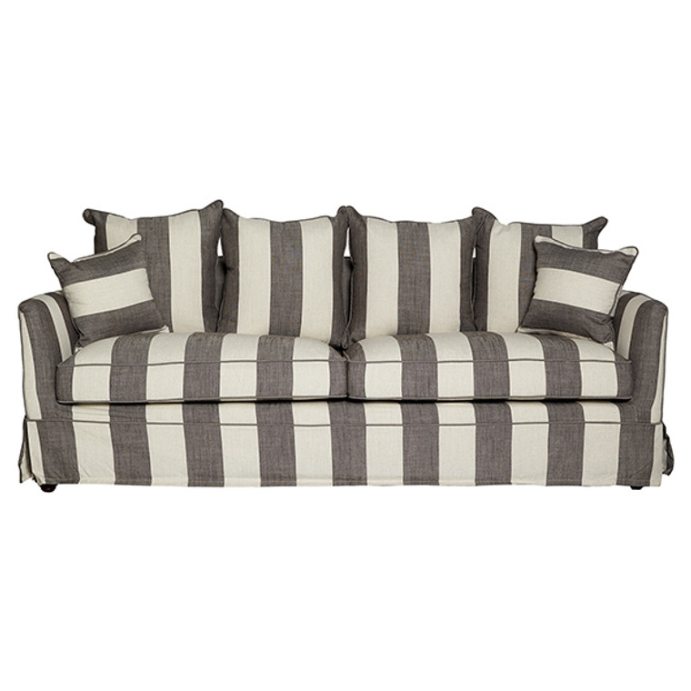 Portsea 3 Seat Sofa - Grey & Cream Stripe by Maison Living