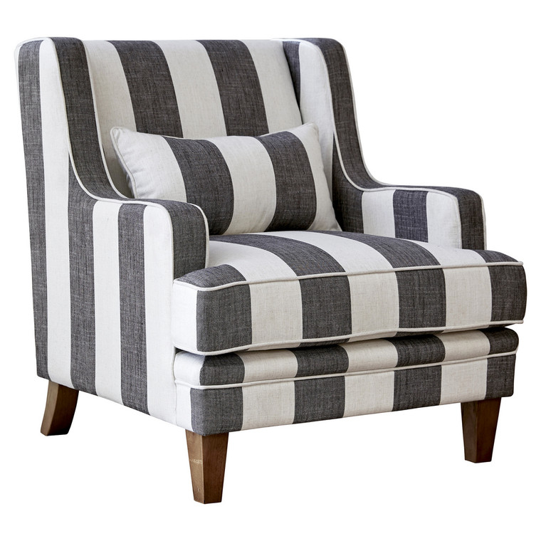 Byron Armchair - Grey & Cream Stripe by Maison Living