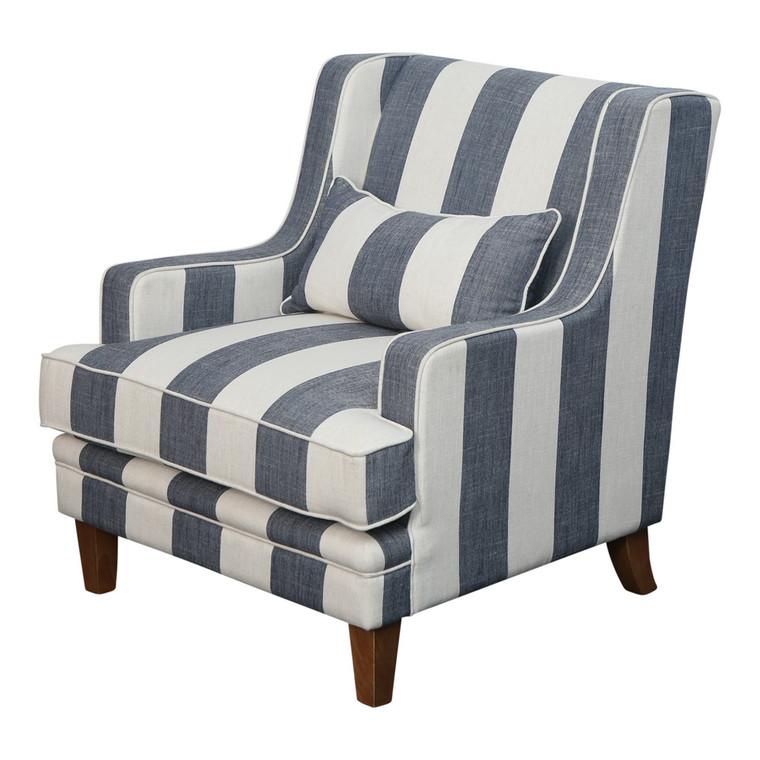 Byron Armchair - Denim & Cream Stripe by Maison Living