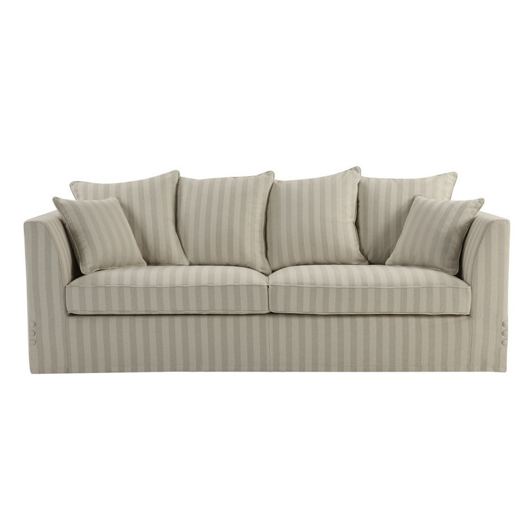 Portsea Natural Linen Stripe 3 Seat Sofa by Maison Living