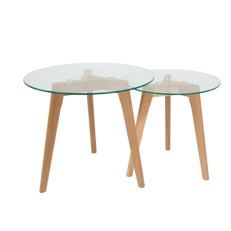 Malmo Nesting Side Table - Glass Set/2 by Maison Living