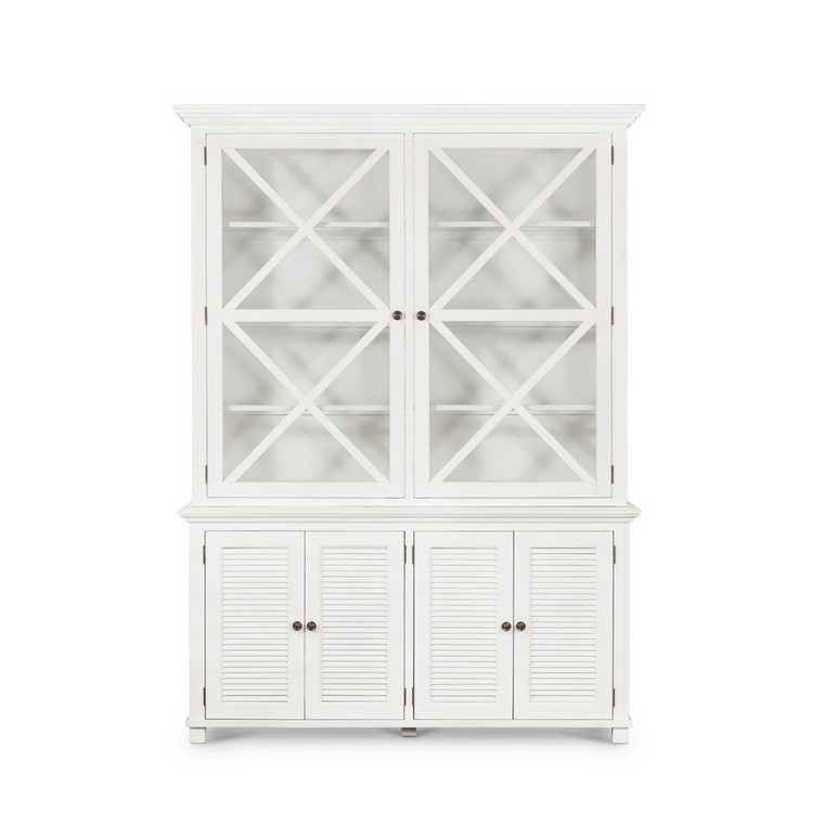 Hamptons Shutter Large Glass Door Cabinet Whit by Maison Living