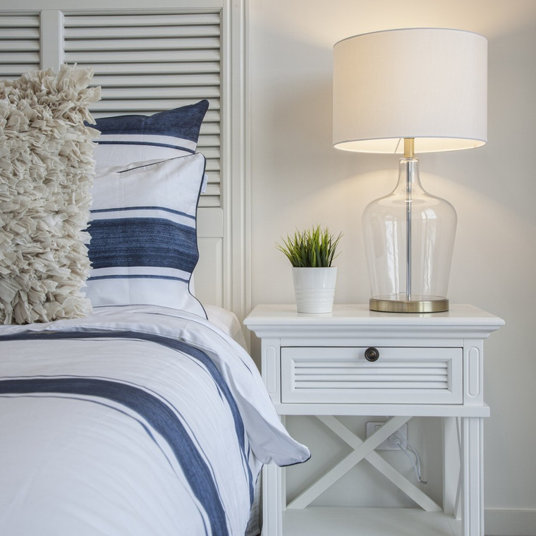 Hamptons Shutter Bedside Table White
