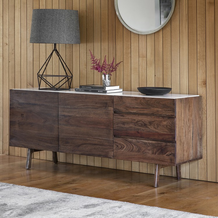Bergen Scandinavian Mid-Century Modern Marble Sideboard