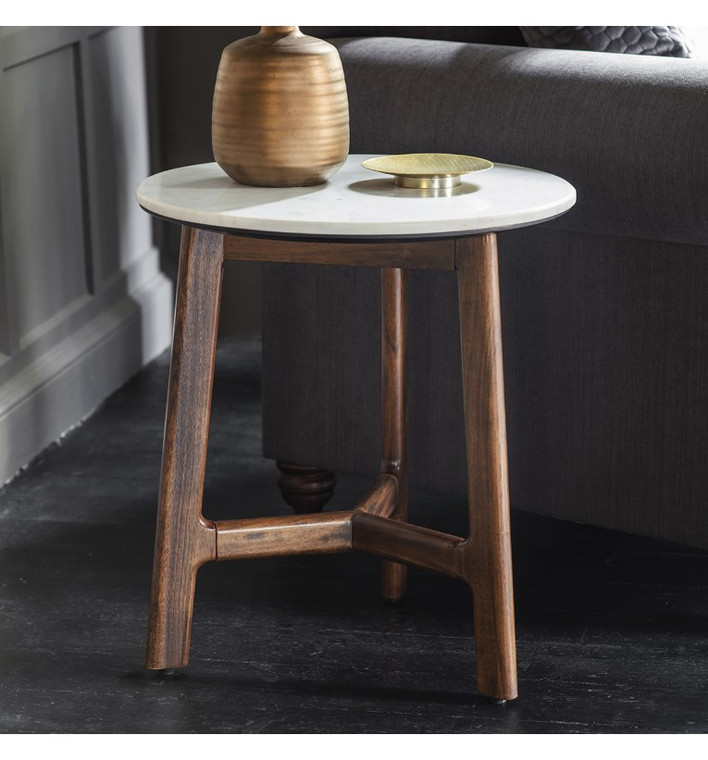 Bergen Scandinavian Mid-Century Modern Marble Side Table