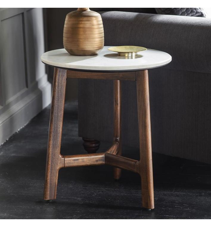 Bergen Scandinavian Mid-Century Modern Marble Side Table