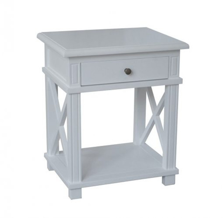 Xavier Bedside Table - Hamptons Matt White