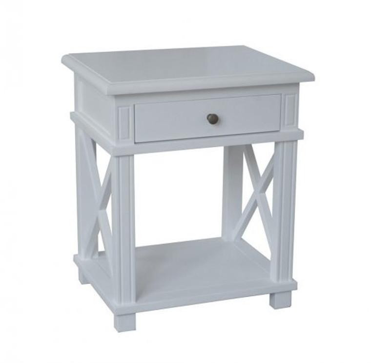 Xavier Bedside Table - Hamptons Matt White