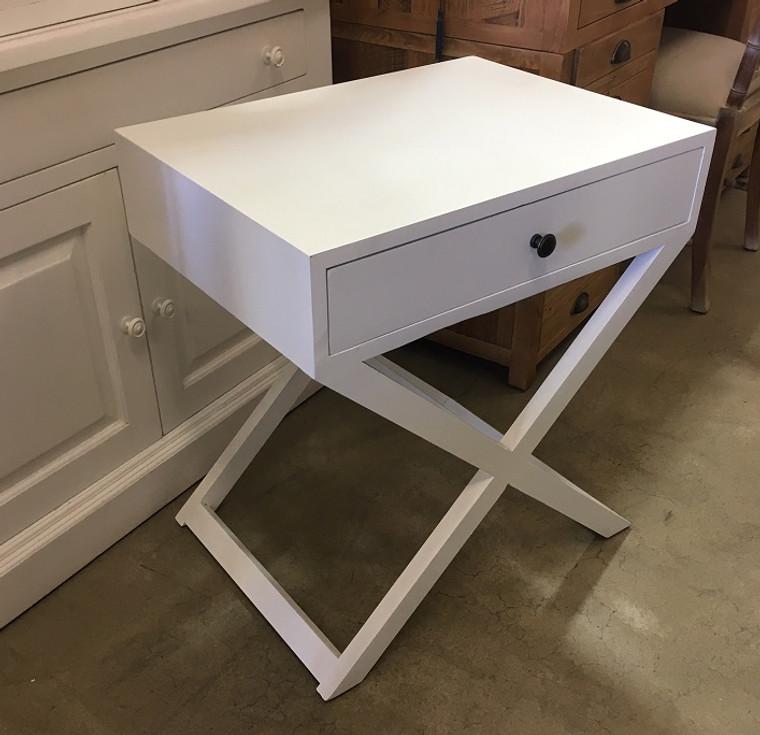 Cross Base Bedside - White  - 65H x 60W x 45D (cm)