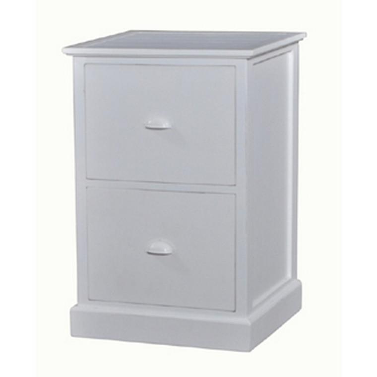 Emerson 2 Drawer Filing Cabinet -White Light Distress - Size: 75H x 50W x 46D (cm)