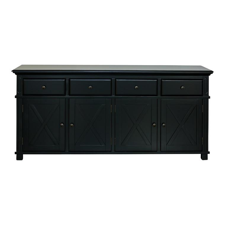 Hamptons Cross 4 Door Buffet Sideboard - Black - Size: 188(W) x 50(D) x 85(H)cm