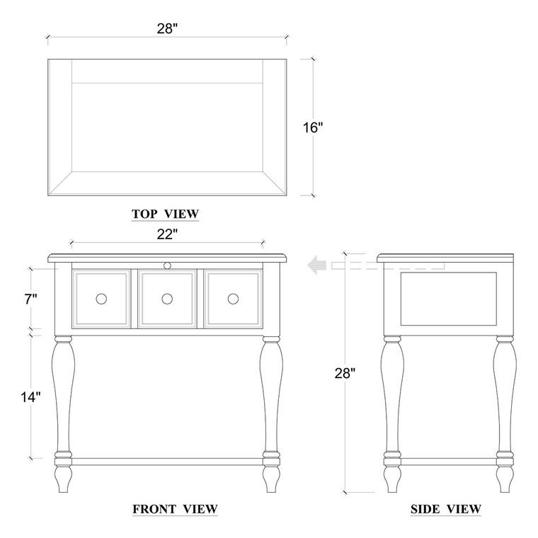 Mary Tudor Bedside - Size: 70H x 70W x 40D (cm)