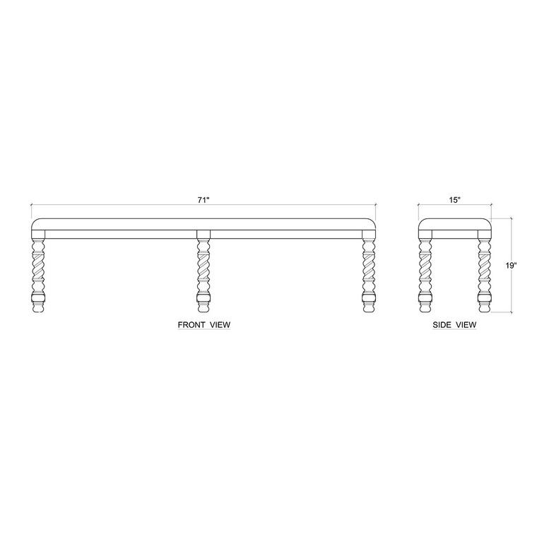 Regency Barley Twist Bench - Size: 49H x 180W x 38D (cm)
