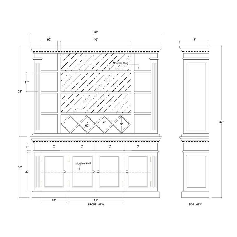 Alexander Wine Cabinet - Size: 221H x 192W x 43D (cm)