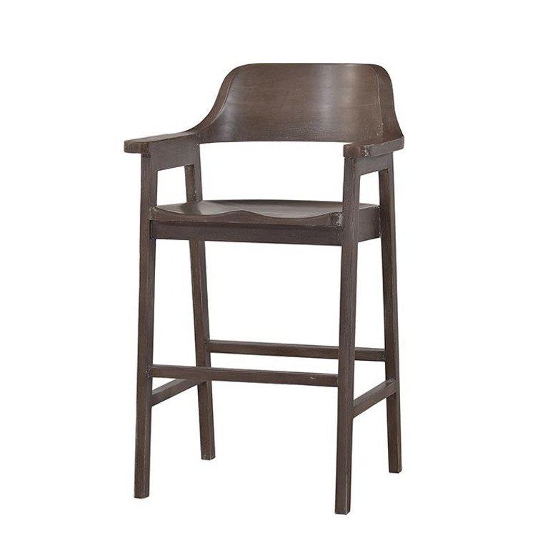 Cottage Barstool w/ Wooden Seat - Size: 105H x 58W x 52D (cm)