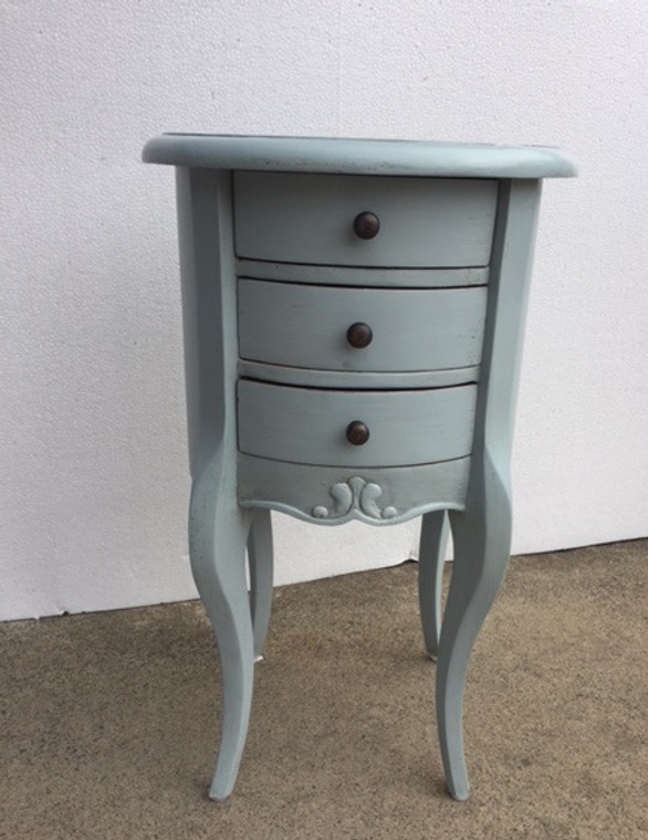 Drum Lamp Table Small - Cadet Blue Light Distressed  - Size: 65H x 40W x 40D (cm)