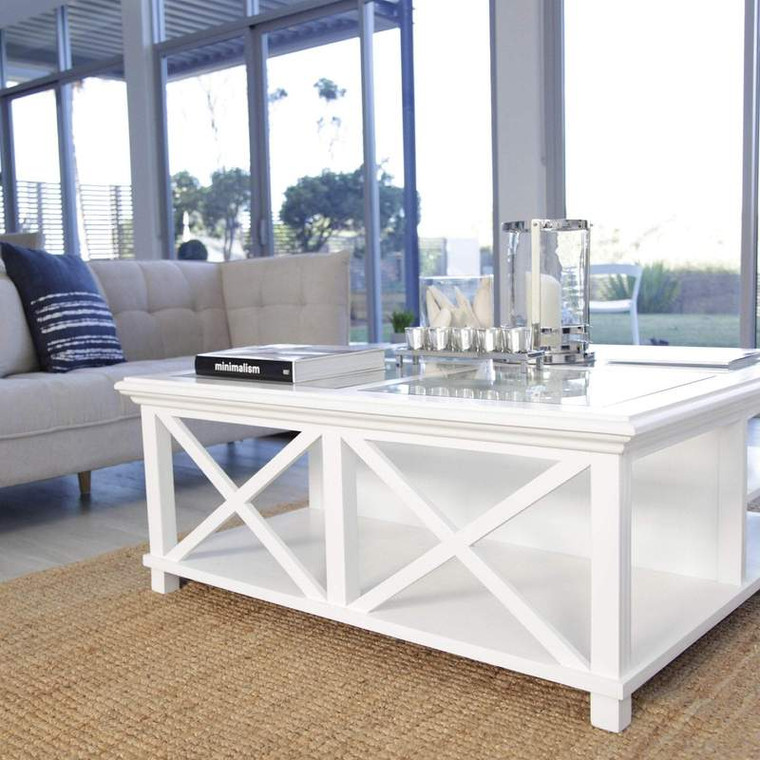 Hamptons Cross Sorrento Large Coffee Table - White