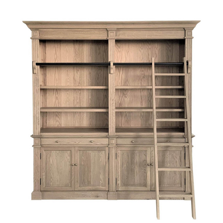 Montpellier 2 Bay Library Bookcase - Weathered Oak