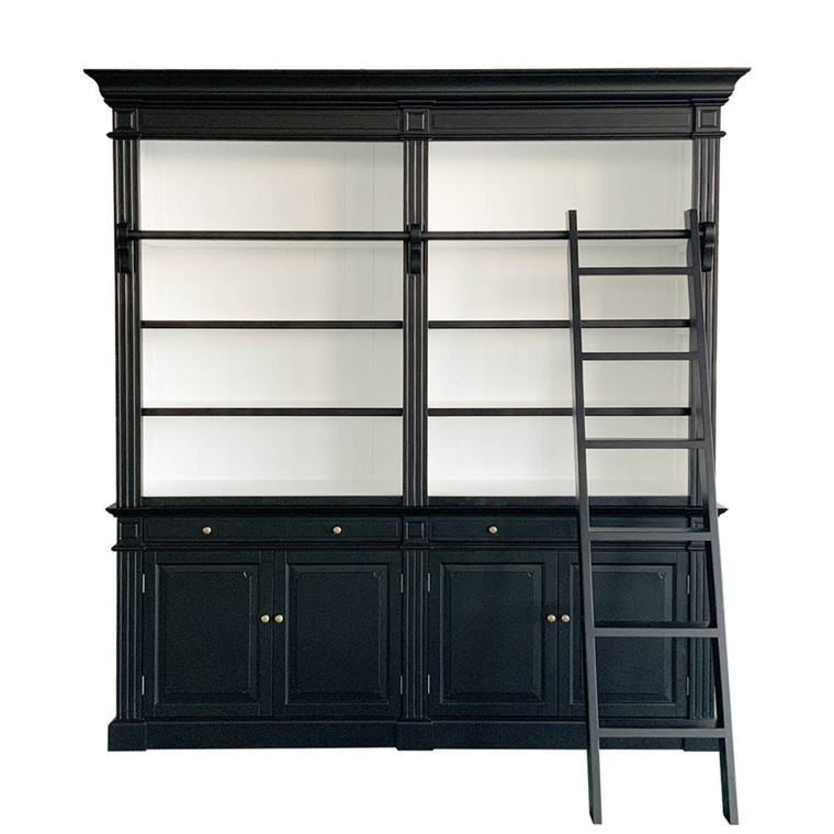 Montpellier 2 Bay Library Bookcase - Black/White