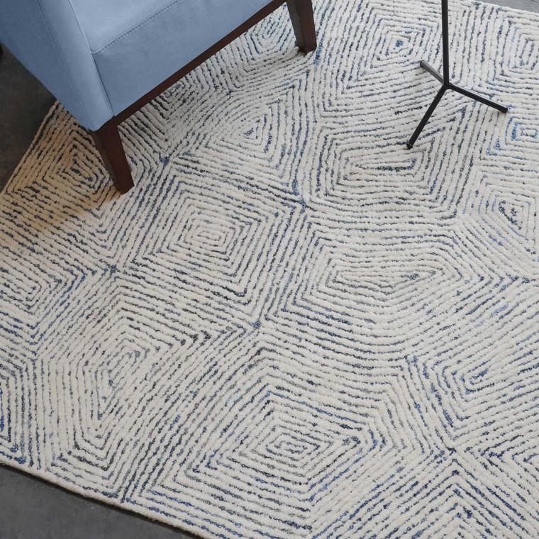 Maze Blue 5 X 8 Rug - Size: 244H x 152W x 1D (cm)