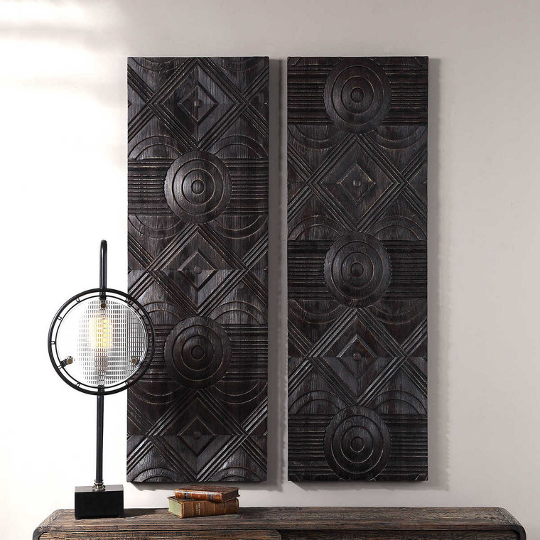 Asuka Carved Wood Wall Panels Set/2 - Size: 152H x 51W x 4D (cm)