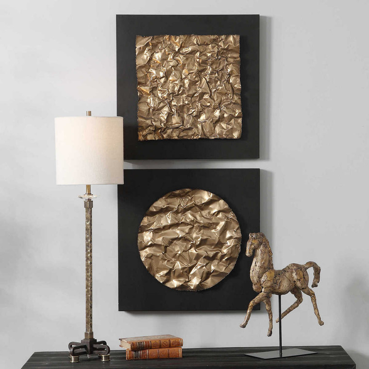 Boaz Gold Wall Decor Set/2 - Size: 51H x 51W x 6D (cm)