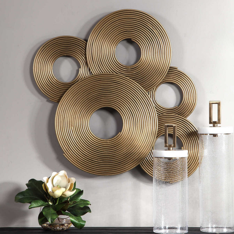 Ahmet Gold Rings Wall Decor - Size: 69H x 88W x 6D (cm)