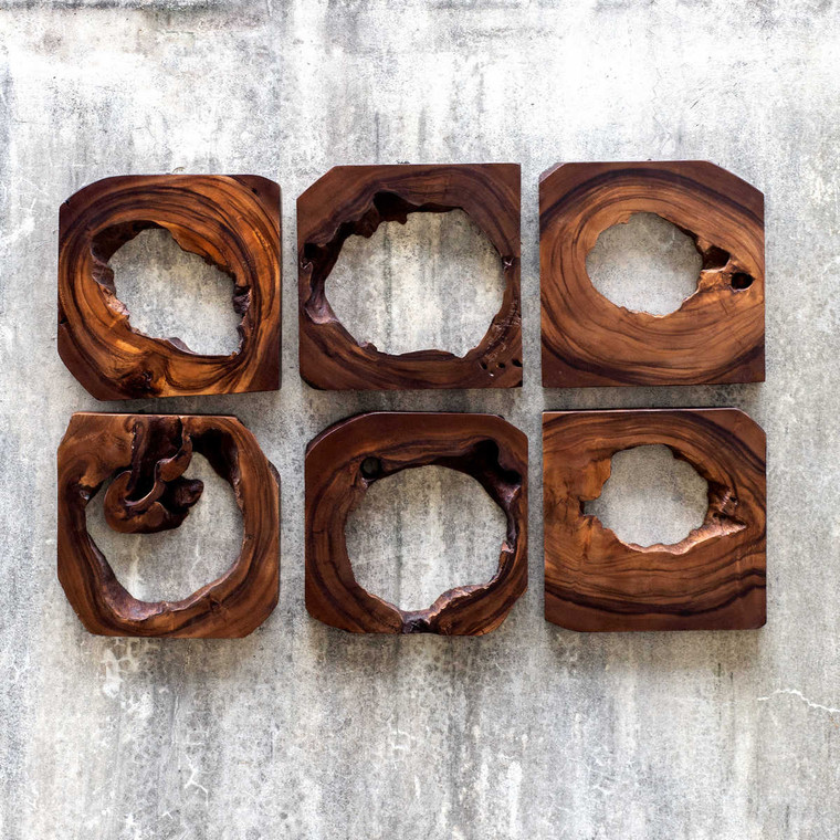 Adlai Wood Wall Art Set/6 - Size: 30H x 30W x 4D (cm)