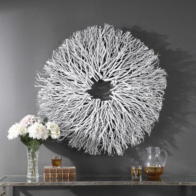 Alene White Wood Wall Decor - Size: 102H x 102W x 10D (cm)