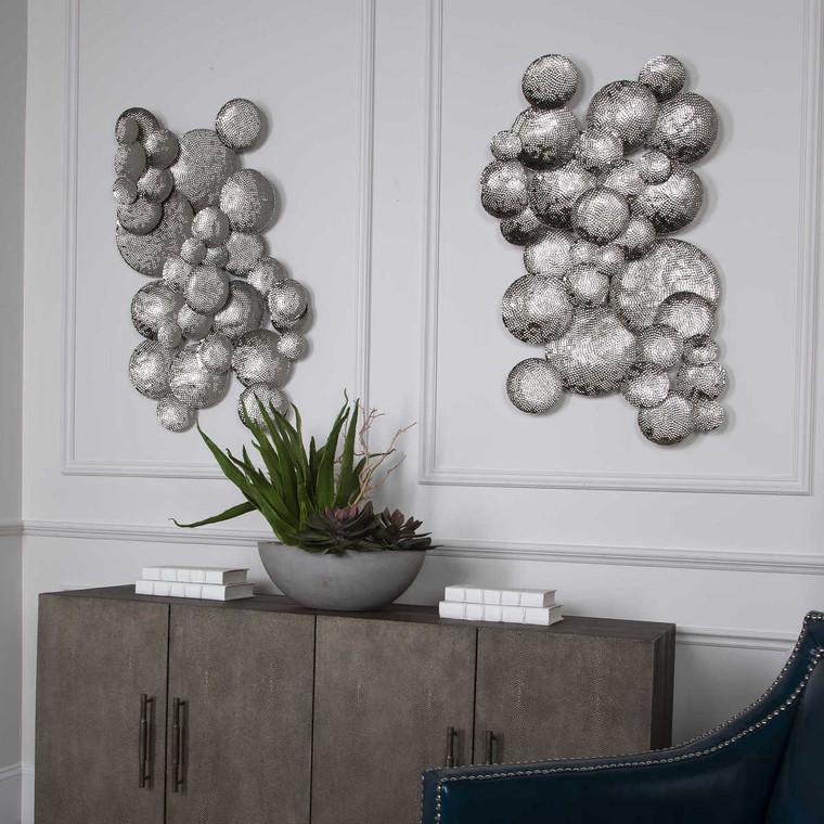 Cassava Hammered Discs Wall Art - Size: 91H x 53W x 5D (cm)