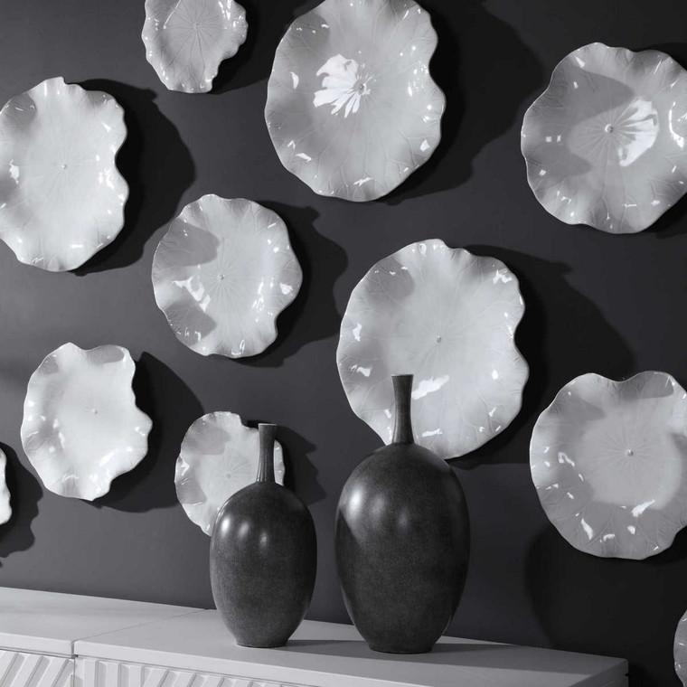 Abella Ceramic Wall Decor Set/3 White - Size: 45H x 45W x 10D (cm)