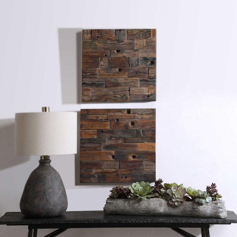 Astern Wood Wall Decor Set/2 - Size: 51H x 51W x 4D (cm)