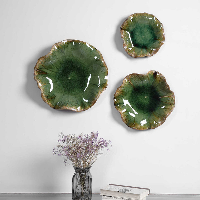 Abella Green Ceramic Wall Decor Set/3 - Size: 10H x 45W x 45D (cm)