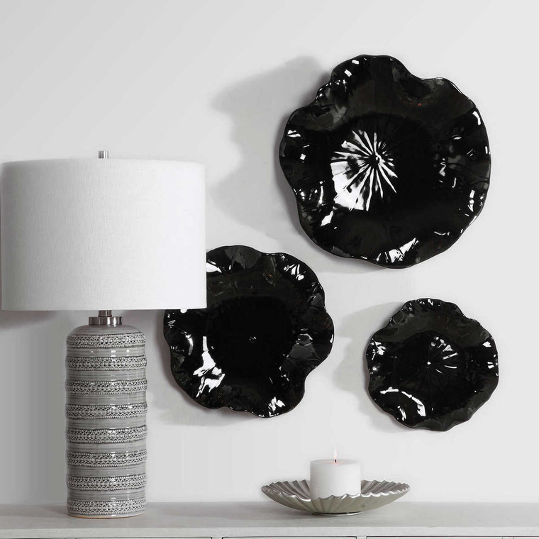 Abella Black Ceramic Wall Decor Set/3 - Size: 10H x 45W x 45D (cm)