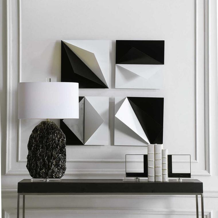 Origami Metal Wall Decor Set/4 - Size: 40H x 40W x 13D (cm)